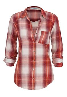 distressed plaid button down shirt in red (original price, $29) available at #Maurices
