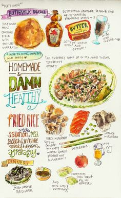 didnt feel to work on any projects! Food Sketch, Food Journal, Recipe Journal, Watercolor Food, Food Illustrations, Menu Illustration, Food Drawing, International Recipes, Creative Food