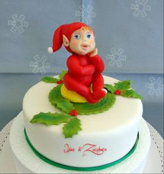 sweet christmas baby elf - by IdeediZucchero @ CakesDecor.com - cake decorating website