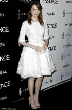 Emma Stone in Elie Saab-I love seeing young celebs in cute modest clothes. This dress is adorable! Want it.