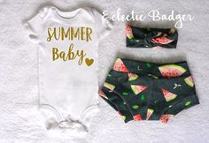 Summer outfit Baby girl Watermelon baby girl clothes Coming