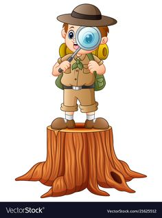 Boy explorer with magnifying glass on tree stump vector image on VectorStock