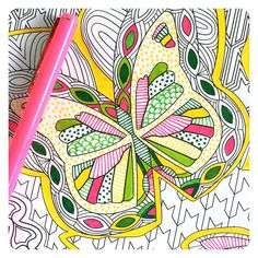 Some creative coloring in the #superawesomecoloringbook by @markcesy! Lovely way to spend a Sunday morning! Butterfly coloring page, colored by Jenean Morrison