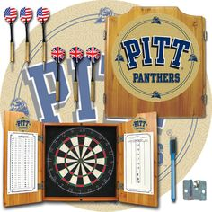 Trademark Commerce CLC7000-PITT University of Pittsburgh Dart Cabinet with Darts and Board