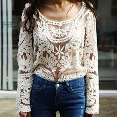 Sexy Sheer Sleeve Embroidered Floral Lace Crochet Blouse T-Shirt WH - $11.37