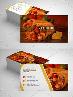 It is a Simple and Clean Restaurant Business Business Card. For your Restaurant or personal use. Card made with high quality design elements. Id Card Design, Business Card Design, Business Cards, Visiting Card Design, Food Cards, Food Banner, Name Cards, Recipe Cards, Logo Design Inspiration