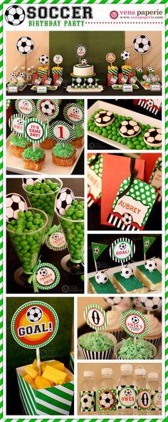 Set de fútbol cumpleaños fiesta paquete por venspaperie en Etsy