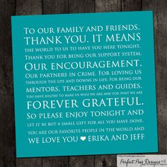 Wedding Table Place Thank you Card 5x5 Teal Blue Perfect for Birthday's Baby Shower's Retirement Holiday Party Customize with ANY color on Etsy, $15.00