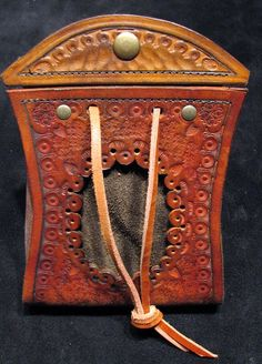 """Leather Pouch Venetian Borsello  """"filigree punched, hand-tooled leather...soft deer tanned leather inner pouch..."""""""