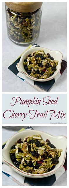 This Pumpkin Seed Cherry Trail Mix is way more addictive than pistachios. Pumpkin seeds and nuts tossed with dried cherries and cranberries with a touch Trail Mix Recipes, Nut Recipes, Sweet Recipes, Snack Recipes, Healthy Recipes, Homemade Trail Mix, Pumpkin Seed Recipes, Eating Vegetables, On The Go Snacks
