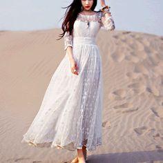 Women Dress Casual Ethnic White Lace Maxi Dress Women Vintage Tunic Beach Vacation Boho Long Dress Plus Size S-XL #A109