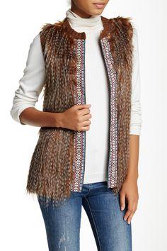 Embroidered Detail Faux Fur Vest by Love On A Hanger on @nordstrom_rack Sponsored by Nordstrom Rack.