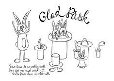 Glad påsk! Påskbrev med många magiska hattar! Att skriva ut och färglägga. Easter letter for coloring.  #utskrift #påskbrev #måla #påsk
