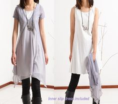 Transparent Meditation-layered tunic dress (Q1505) from idea2lifestyle by DaWanda.com