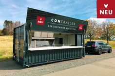 Seecontainer als PKW-Anhänger Container Coffee Shop, Container Shop, Container Design, Shipping Container Restaurant, Shipping Container House Plans, Snack Containers, Container Architecture, Small Bars, Coffee Shop Design