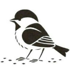 Chickadee (direct link cannot be found) Silhouette Images, Silhouette Vinyl, Silhouette Portrait, Stencil Patterns, Stencil Art, Stencil Designs, Stenciling, Bird Crafts, Silhouettes