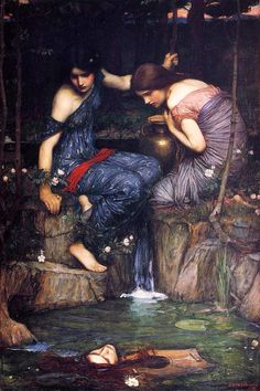 Nymphs finding the head of Orpheus, John William Waterhouse Oil Painting, 1905 & Oil Study on Board (head of Orpheus), John William Waterhouse, Classic Paintings, Beautiful Paintings, Pre Raphaelite Paintings, Victorian Art, Classical Art, Renaissance Art, Art History, Art Photography