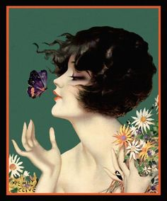 Henry Clive : 'Flapper Beauty Butterfly Kiss', 1920's