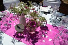 Una BODA de temática GATUNA. 31.8.13 Zona: Convite. Decoración mesas boda Rosa.