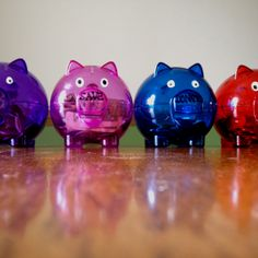 Allowance system- teaching kids how to save and spend wisely. Found these little piggy banks at the dollar store. Labeled them with spend, save, donate, invest. Spending is for small treats, yard sales, and trips to $ store. Save is for a bigger item like a new DS game or Barbie doll. Donate is for a charity of choice twice a year. Invest is put into a college or car account. Each week we give her 10 quarters. She puts one in each bank. The last six are her choices on where to put. she's…