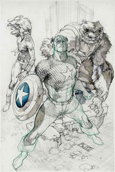 Captain America, Black Widow, and Beast WIP by Simone Bianchi *