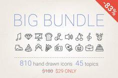 83% Off - Hand Drawn Icons Bundle by miumiu on Creative Market