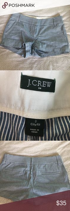 "J. Crew sailor blue striped shorts 3"" inseam, perfect condition, worn once. Great for summer months! J. Crew Shorts"