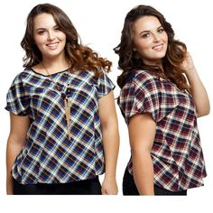 "Plus Size Crossed Back Plaid Print Top w/ Necklace NWT. Blue or Red. Cool and chic relaxed crossed back top with plaid print. Comes with a detachable gold-tone necklace with black glass beads.  SIZE GUIDE: 1X: 14-16W, 34-37"" waist, 43-47"" hip, 41-44"" Bust.  2X: 18-20W, 38-41"" waist, 47-50"" hip, 45-48"" Bust.  3X: 22-24W, 42-45"" waist, 50-54"" hip, 49-52"" Bust.   100% Polyester.   Made in USA Tops Blouses"