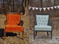Annie Sloan paint, Duck Egg Blue, painted fabric chair, makeover, mini session winner