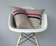 Hot Pink and Navy Striped Pillow Set  12x20 door JillianReneDecor, $160.00