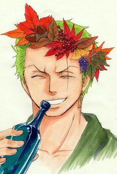 Roronoa Zoro, smiling, flower crown, leaves, autumn, fall, sake, booze, bottle; One Piece