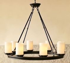 Perfect for over the Dining room table! Veranda Round Chandelier #potterybarn over kitchen eating area
