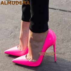 Brand Name:ALMUDENA Pump Type:Basic Heel Type:Thin Heels Upper Material:Patent Leather Heel Height:Super High (8cm-up) Fit: Hot High Heels, Sexy Heels, High Heel Pumps, Pumps Heels, Stiletto Heels, Platform Pumps, Shoes Sandals, Beautiful High Heels, Shoe Gallery