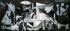 Autore:Pablo Picasso; Titolo: Guernica; Data: 1937; Tecnica: olio su tela, 349x776,5 cm; Luogo: Centro de Arte Reina Sofia, Madrid