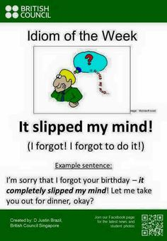 Slip one's mind Idiom