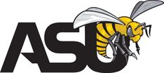 Alabama State Hornets Primary Logo (1999) - A yellow hornet above ASU script in black