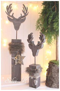 ☆ Hirschkopf auf Sockel Höhe: 49 cm Shabbygrau ☆   Dieser Hirschkopf auf Sockel ist eine sehr edle und wunderschöne Winterdekoration.  Den Sockel sowie auch den Hirschkopf habe ich aus...