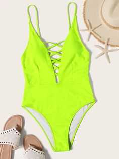 Neon Lime Criss Cross Plunging One Piece Swimsuit – idee per costumi da bagno One Piece Swimsuit Slimming, One Piece Swimsuit Trendy, Plunging One Piece Swimsuit, One Piece Bikini, One Piece Swimwear, Criss Cross, Cute Swimsuits, Bra Types, Beachwear For Women