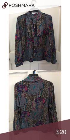Long sleeve vintage blouse Multicolored vintage Alfred Dunner blouse Alfred Dunner Tops Blouses