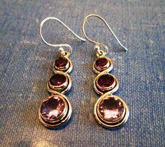 EARRINGS  - Color CHANGE - ALEXANDRITE - Lavender - Blue - Double Amethyst - French Hook - Sterling Silver  - 925 -Dangle earrings 413 by MOONCHILD111 on Etsy