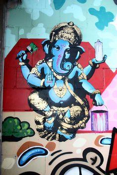 Street art in Rotterdam, the Netherlands ~ by .FAKE. Der Elefantengott Ganesha ist einer der wichtigsten Götter der Hindus. http://www.kunst-natur-kultur.de/Batik-Tuecher/Batik-Elefantengott-Ganesha