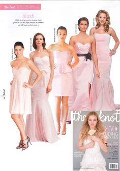 Donna Morgan's Morgan bridesmaid dress in Blush looks beautiful in The Knot magazine's Fall Issue! #weddings