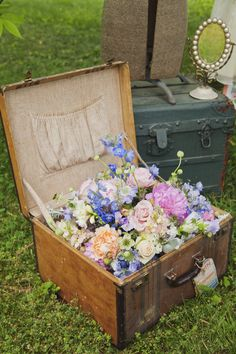 Store the bouquets in a vintage suitcase after the ceremony.
