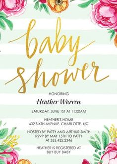Baby Shower Invitation featuring mint green and white stripes, gold glitter foil lettering, Spring blooming flowers in pink, yellow. Perfect for spring baby shower. See our creative wording ideas.