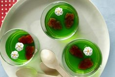 Chocolate frogs in green jelly ponds. <a ...