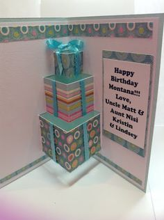 Hmm could be cute idea to get 2 pieces of card board or left over box nail one side to wall in kids room in corner n let them fold out =D or .Pop Up Birthday Card washi tape Paper Quilling Cards, Paper Crafts Origami, Paper Crafting, Cricut Birthday Cards, Cricut Cards, Shaped Cards, Diy Box, Pop Up Cards, Scrapbook Cards