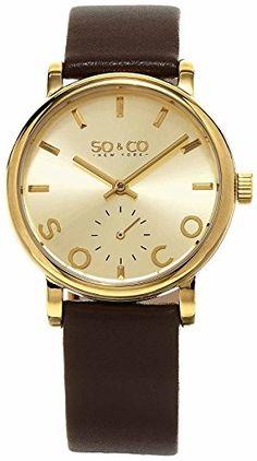 SO & CO New York Frauen Madison Analoganzeige japanisches Quarzuhr mit einer Gold Zifferblatt, Braun Gurt - 5093L.3 - http://uhr.haus/so-co-33/so-co-new-york-frauen-madison-analoganzeige-quarz-39