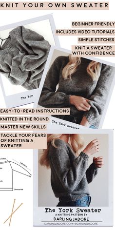 Knit a top-down raglan sweater with this easy, beginner-friendly knitting pattern for The York Sweater by Darling Jadore. It's a fun and easy knit pattern! Easy Sweater Knitting Patterns, Knit Patterns, Free Knitting, Knitting Sweaters, Knitting Ideas, Easy Knitting Projects, Crochet Patterns For Beginners, Knitting For Beginners, Ravelry