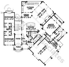 07379 Stone Gap Cottage House Plan, 1st Floor Plan, Mountain Style House Plans, Craftsman Style House Plans, Wheelchair Accessible House Plans