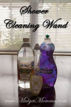 DIY Shower Cleaning Wand- fill halfway with dishsoap and half with vinegar.
